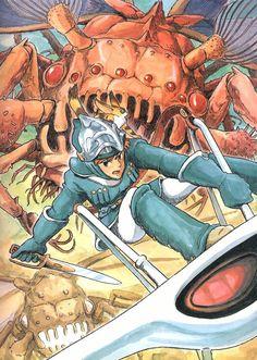 Nausicaa of the Valley of the Wind. Watercolor illustration by Hayao Miyazaki.