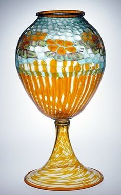 Nicolo Barovier large glass vase with inflated murrine, 1914.