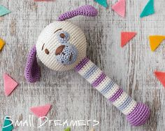 Giraffe rattle Crochet rattle Baby rattle toy by SmallDreamers