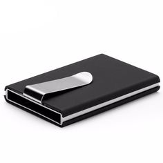 Mens Auto RFID Slim Wallet Card Holder With Money Clip