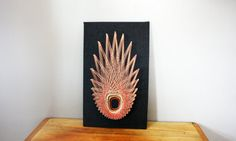 vintage 70s Geometric Abstract Red & Gold String Art Wall Hangings- Mid Century Room Decor on Etsy, $32.00