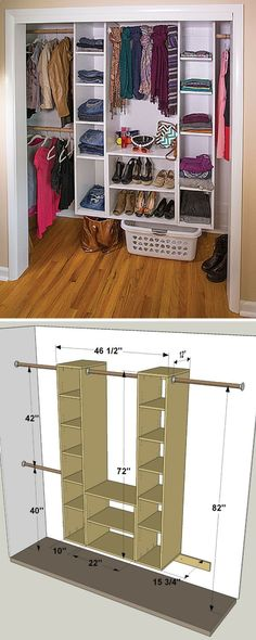 Plans of Woodworking Diy Projects - This organizer makes it easy to turn a chaotic closet into a clean, organized space. It's made up of a couple of basic pieces: Two towers with adjustable shelves, and wide cubby. You can build it as shown here or, because it's modular, arrange it in a different way to best suit your storage needs. Get the free DIY plans at buildsomething.com Get A Lifetime Of Project Ideas & Inspiration! #closetorganizerorganizationideas