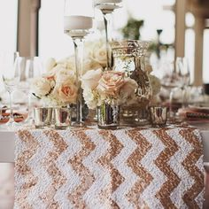 12 ways to add sparkle to your wedding day - LOVING this sequin chevron table runner. Photo by: Erik Clausen