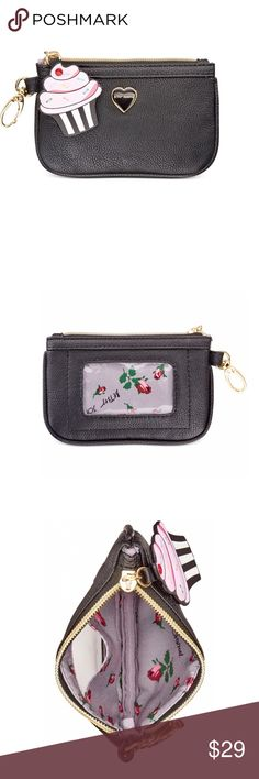 """❗️Price Drop❗️NEW Betsey Johnson Zip Coin Pouch Betsey Johnson xox Trolls Zip Coin Pouch in black.  Dimensions are 5-1/4W x 3-2/5""""H. Betsey Johnson Bags Mini Bags"""