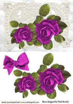 BEAUTIFUL PINK ROSES ON VINTAGE LACE WITH BOW On Craftsuprint