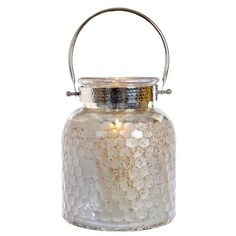 Tarnished Silver Mercury Glass Lantern ($11) ❤ liked on Polyvore featuring home, home decor, candles & candleholders, glass candle, glass pillar candles, glass home decor, glass lanterns and honeycomb lantern