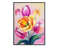 """Nástěnná dekorace """"Tullips Pink"""", 30 x 40 x 3 cm"""