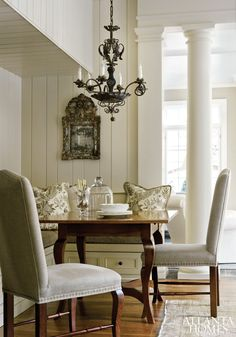 Classic and elegant banquette,  Atlanta Homes magazine.