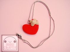 Healing Heart Necklace Polymer Clay by bubucraftie on Etsy, $7.50