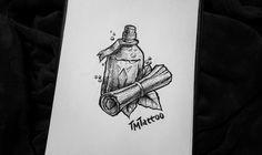 Бутылка и свиток \\ Эскизы татуировок \\ Черно-белый \\ Лайнворк \\ Из видео Bottle and scroll \\ Sketch \\ Tattoo \\ Linework \\ Black and white \\ From video