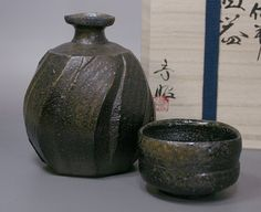 """渋田寿昭作 黒備前徳利ぐい呑セット / """"Japanese pottery"""" Kuro Bizen sake set by Shibuta Toshiaki"""