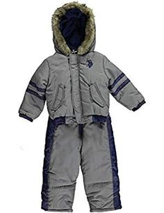 """Polo Association Little Boys' Toddler """"Stripe Sleeve"""" Snowsuit - gray, Your dude will be ready for snow ball fights and sledding sessions all season long in this versatile set that can be worn together or seperate to fight off the chill of winter. Latest Fashion Trends, Fashion Brands, Snow Wear, Snow Suit, Boy Fashion, Canada Goose Jackets, Rain Jacket, Windbreaker"""