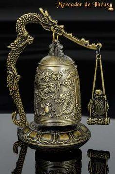 Requintado Sino Tibetano Esculpido - Bronze - Dragões E Buda Frete Grátis Para Todo O Brasil - Reprodução Do Original