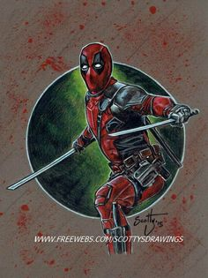 """Drawing I finished today featuring a portrait of """"Deadpool"""" ( portrayed by Ryan Reynolds) as seen in upcoming Marvel Entertainment film """"Deadpool"""" size 9"""" x 12"""" Prismacolor color pencils on Canson ..."""