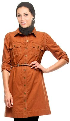 3e5faade17 Aquila Long Button Down Shirt Dress with Belt - Burnt Orange