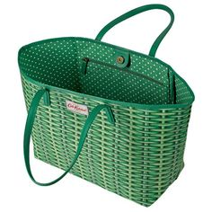 Wicker Large Leather Trim Tote Cath Kidston Bags, Wicker, Women's Fashion, Shoulder Bag, Fit, Green, Leather, Shopping