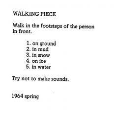 Inspiration: Yoko Ono's instructional poems for art pieces remain some of the most thought-provoking and beautiful things I've read. Yoko Ono, Beatles, Star Poetry, Performance Art Theatre, Commonplace Book, Fluxus, Art Of Living, Conceptual Art, Word Art