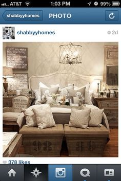 Love the benches at the foot of the bed! Beautiful bedroom #vintage #rustic shabby and ck out the skull pillows !!!!!