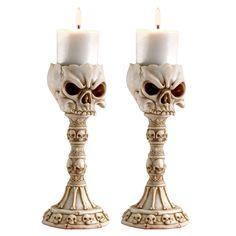 Design Toscano Skullduggery: Skull and Bones Sculptural Candlesticks: Set of Two
