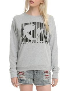 Grey pullover top from The Little Mermaid with an Ariel barcode design.