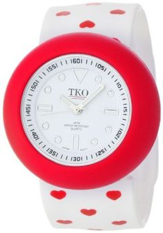 TKO ORLOGI Women's TK590-HWT Slappers White Heart Print Slap Watch TKO. $39.99. Three part interchangebale slap bracelet watch. Heart print. Water-resistant to 99 feet (30 M). Fits any size wrist. Easy to change; Super comfortable. Save 20%!