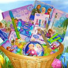 """Zotorius Creations Gift Baskets, LLC  This Easter gift basket consist of the following Disney Frozen theme items: 1. Disney Frozen """"Snow Place Like Home"""" Jumbo Coloring & Activity Book with over 100 Stickers 2. Disney Frozen Popper Jr. Game (Be the first to bring the pieces home); 3. Disney Frozen Puzzle 63 pieces; 4. Disney Frozen Jumbo Playing cards (Play crazy eights, Rummy, Snap & more); 5. Disney Frozen Body work Frosted; Berry scented Bubble Bath & Conditioning Shampoo ; 6. Disney…"""