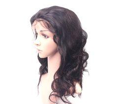 Lace Front Glueless Brazilian virgin hair body wave Human Hair Women's Wigs