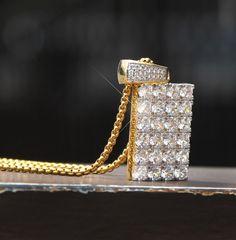 Big Solitaire Simulated Diamonds Yellow Gold Finish Dog Tag Designer Pendant Charm