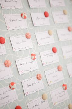 "escort cards coral-wedding Love the pins. Put on a ""map"" symbolizing their travel together Wedding Place Cards, Wedding Paper, Wedding Table, Diy Wedding, Wedding Events, Wedding Day, Wedding Pins, Wedding Seating, Ms Project"