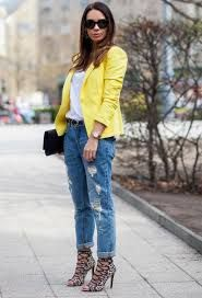 Discover this look wearing Blue Zara Jeans, Yellow Zara Blazers, Black Leather Saint Laurent Bags tagged boyfriend jeans, yellow blazer - Mellow Yellow by cashmereinstyle styled for Casual, Everyday in the Spring Trendy Jeans, Stylish Jeans, Mode Outfits, Fashion Outfits, Womens Fashion, Jeans Fashion, Blazer Outfits, Casual Outfits, Yellow Outfits