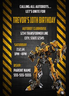 $10 - Transformers Bumble Bee Birthday Invitation