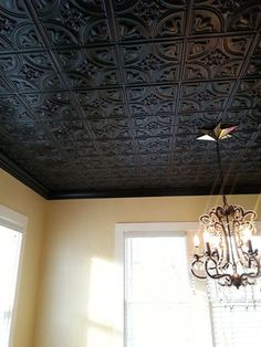 Outstanding black decorative tin ceiling tiles chandelier home decorating ideas The post black decorative tin ceiling tiles chandelier home decorating ideas… appeared first on Feste Home Decor . Faux Tin Ceiling Tiles, Tin Tiles, Drop Ceiling Tiles, Ceiling Chandelier, Pvc Ceiling Panels, Styrofoam Ceiling Tiles, Styrofoam Art, Accent Ceiling, Wood Tiles