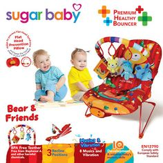 Take Baby Shoppee: PROMO Sugar Baby Bouncer 3 Recline Bear n Friends