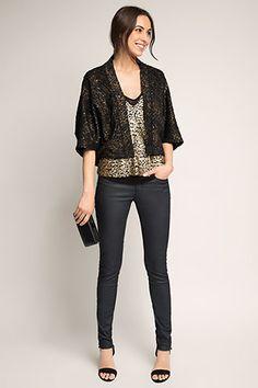 Esprit / Tweed bolero met elegante glitter-look