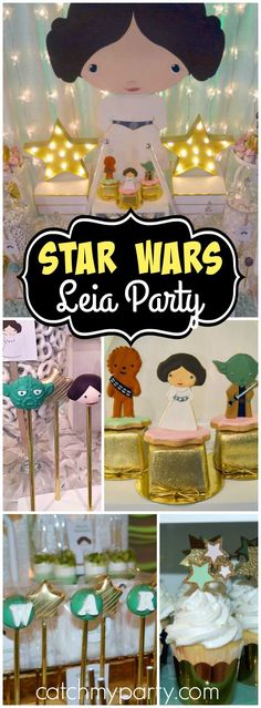 How adorable is this Star Wars baby shower featuring Princess Leia?! See more party ideas at CatchMyParty.com!