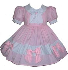 Sissy Dress Cute Bows Pink and White Custom Size by MGDclothing, $284.95