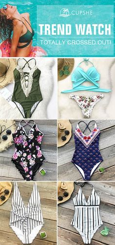 We have a great selection of cross style bikinis for you! Amazing and Gorgeous, never go out of style in a chic and sophisticated swimsuit. Come and dance with me by the sea, and add a bright hue to your beach look~