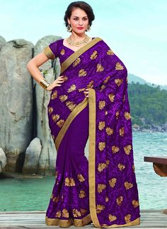 Item :#3670 Shop this product from here.. http://www.silkmuseumsurat.in/violet-chiffon-saree?filter_name=3670  Color	 : Violet Fabric	 : Faux Chiffon, Velvet Occasion	 : Party, Reception Style	 : Contemporary Work	 : Embroidered