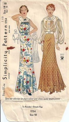 1930s Simplicity #1754 in size 14/ 32 bust.