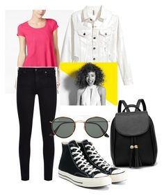 """""""pizza date"""" by tesaantobing on Polyvore featuring Calvin Klein, 7 For All Mankind, Converse, Ray-Ban and Paul Mitchell"""