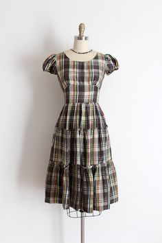 vintage 1940s dress // 40s plaid dress by TrunkofDresses on Etsy