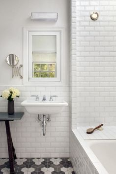 Bathroom , Subway Tile Bathroom Walls : White Beveled Subway Tile Bathroom With Graphic Hex Tile Flooring And Wall Mounted Sink And Small Window