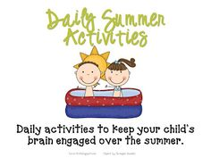 Summer Activity Calendar and End of the Year Activities
