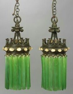 Two Bronze Moorish Clear Glass Jewel and Green Prism Glass Lamps Antique Lamps, Antique Lighting, Vintage Lamps, Chandeliers, Chandelier Lighting, Tiffany Lamps, I Love Lamp, Stained Glass Lamps, Ceiling Medallions