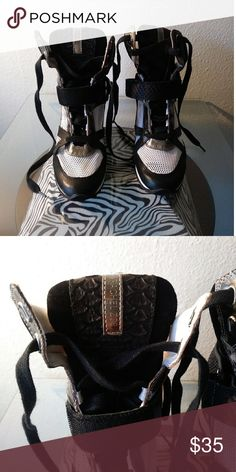 """RACHEL ZOE """"Geri"""" wedge sneaker Size 8, black/white fabrics like suede pewter colored patent snake leather and netted top, including velcro cross strap! White side and black ridged bottom is cool too! A tight look with tight jeans or cute shorts! Fire! Make an offer or bundle 2 for discount! Rachel Zoe Shoes Wedges"""