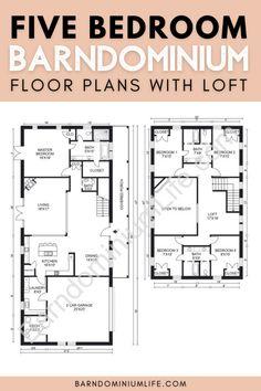 Barndominium Floor Plans, Loft Floor Plans, Floor Plan 4 Bedroom, Loft Plan, Farmhouse Floor Plans, 4 Bedroom House Plans, Barn House Plans, Dream House Plans, Cabin Plans