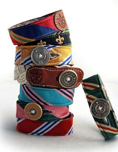 Bracelets from old cotton mens ties: To make a bracelet, cut the tie in half and size it to your wrist. Cut off the excess fabric. Sew the end shut and add a closing mechanism, such as a button, a hook and loop fastener, or a snap. Embellish your new bracelet as desired.