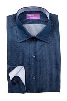 Long Sleeve Trim Fit Dot Pattern Dress Shirt
