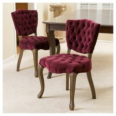 Bates Tufted Fabric Dining Chair Wood/Purple (Set of 2) - Christopher Knight Home