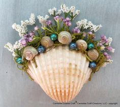 Shell Magnet with purple and white florals by CarmelasCoastalCraft, $6.75